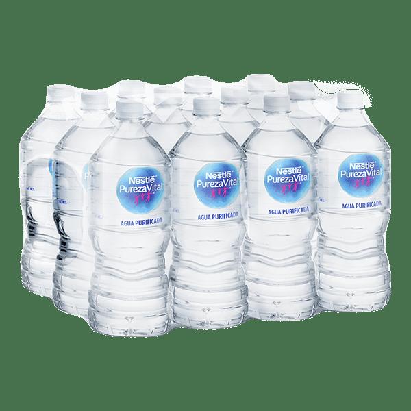 paquete de agua Nestlé Pureza Vital con 12 botellas de 1 L c/u