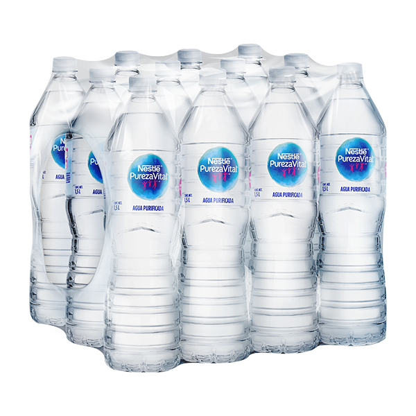 paquete de agua Nestlé Pureza Vital con 12 botellas de 1.5 L c/u