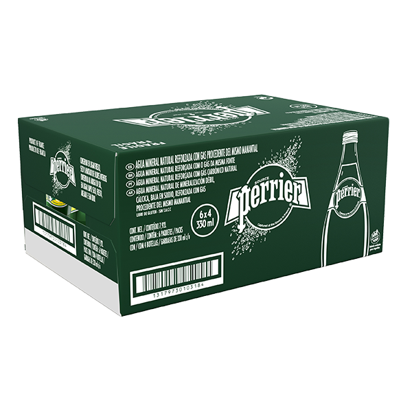 caja de agua Perrier con 24 botellas de 330 ml c/u