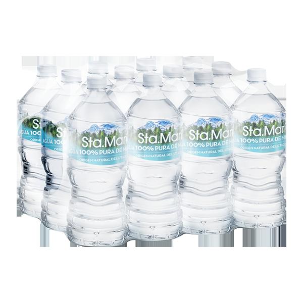 paquete de agua Santa María con 12 botellas de 1 L c/u