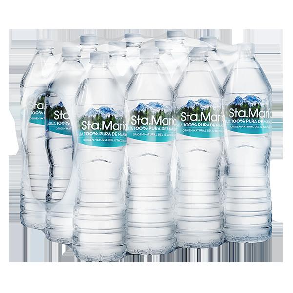 paquete de agua Santa María con 12 botellas de 1.5 L c/u